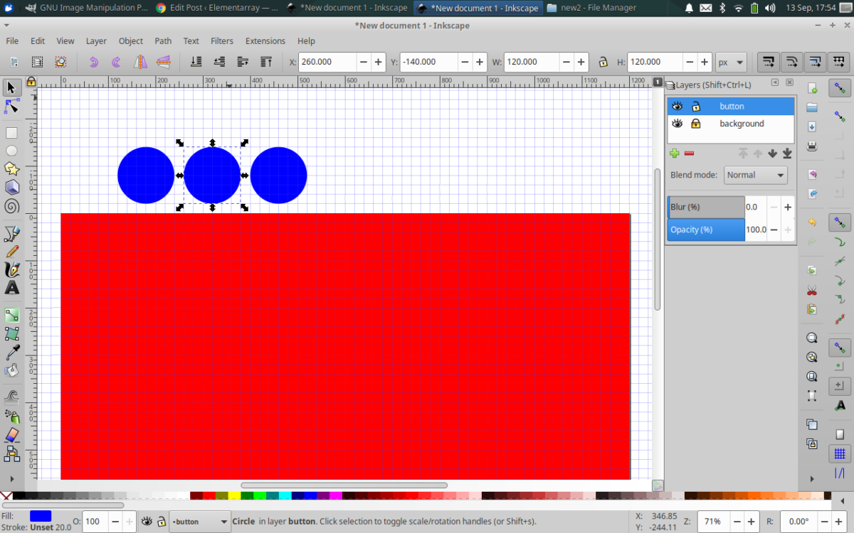 create a new layer with 3 blue circles by pasting in place twice then hold shift + arrow move right, repeat