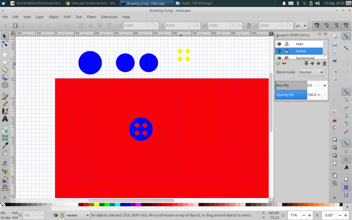 big blue vircle, two 80% scaled copies, move 100% scale button with cropped out eyes into page area (from drawing area)