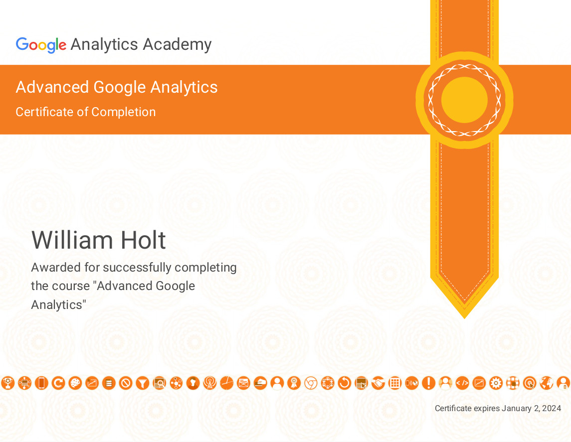 google analytics advanced course certificate